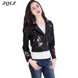 1eeb77820335f Zqlz 2018 Black Pink Leather Jacket Women Spring Autumn Short Coat Fashion  Embroidery Floarl Bomber Motorcycle Jackets Female