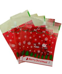 Sacchetti di biscotti di celofano di natale online-100Pcs Self Adhesive Christmas Cookie Candy Package Plastic Sealed Cellophane Gift Bags - Red