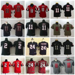 Youth Atlanta Falcons Jerseys Kids Football 2 Matt Ryan 11 Julio Jones 24  Devonta Freeman Children Black Red White Free Shipping f5afb7f6f