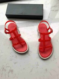 red flat shoelaces Promo Codes - Summer 2019 tide natural rubber jelly shoelace fragrance comfortable soft ladies Roman sandals size eu: 34-40