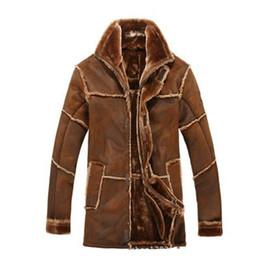Chaqueta de cuero para hombre de la ropa de hombre cálida de estilo nórdico de otoño-invierno con abrigo largo de ante de piel largo vintage. desde fabricantes