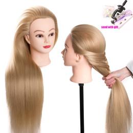 Cabeza de peluqueria muñeca online-muñecas de cabeza para peluquería 80 cm cabeza de maniquí sintético pelo peinados femenino del maniquí de peluquería Styling Head Formación