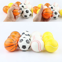 2019 eco palle Baseball Soccer Basketball Palline di Spugna 6.3 cm Morbido PU Schiuma Palla Fidget Relief Giocattoli Novità Sport Giocattoli Per Bambini GGA1868 eco palle economici