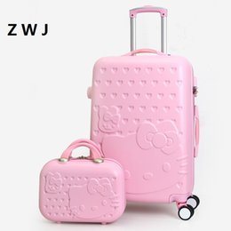 fc86adc1e072 2PCS SET Lovely 20 24 28 inch with 14inch Cosmetic bag hello Kitty luggage  girl Women and children KT cat Travel Case