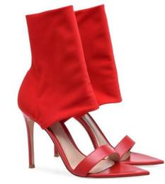 2019 stivali a fascia rossa Hot Sexy Fashion Red / Black Flock Peep Toe Shoes Thin Heels Mid-Calf Women Sandali Stivali da donna di grandi dimensioni stivali a fascia rossa economici