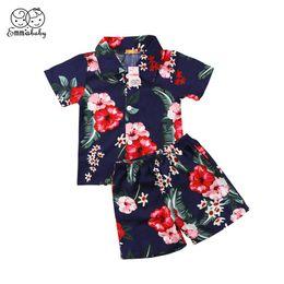 a28234e1a Summer Children Tracksuit 2018 Cool Kid Boys Clothes Set Short Sleeve  Floral T-shirt+Short Pants 2pcs Baby Boy Beach Clothes Set