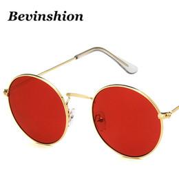 2019 óculos de sol laranja para homem Novo 2019 Clássico Do Vintage De Metal Óculos De Sol Das Mulheres Rosa Vermelha Laranja Rodada Quadro Óculos de Sol Para Homens Da Marca de Moda Óculos Lente Clara desconto óculos de sol laranja para homem