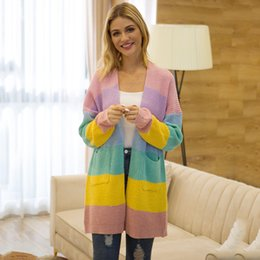 2019 strickjacke große frauen Pullover Herbst-Winter-New Product langer Abschnitt gestreifte Strickjacke Frauen Large Size rabatt strickjacke große frauen