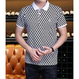 Camisa polo a xadrez on-line-Mens Designer Polos 2019 Homens Marca de Verão Xadrez Impressão Carta Bordado Camisas Polo Mens Tops De Luxo Moda Casual Polo Tamanho M-3XL
