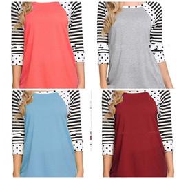 Черная полосатая рубашка онлайн-Женская футболка Dot в полоску с низкой круглой шеей Undies Seven Quarter Рукава Свободный дышащий мягкий желтый черный 26hh C1