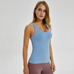 Vêtements de yoga en plein air en Ligne-LU-62 Yoga sans manches Gilet T-Shirt Couleurs Solides Femmes Mode En Plein Air Yoga Réservoirs De Course À Pied Gym Tops Vêtements