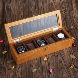 schmuck-display-boxen holz Rabatt YA Top 5 Slots Holz Display Uhrenbox Mode Retro Europäischen Stil Uhr Aufbewahrungsboxen Holz Und Schmuckschatullen C023