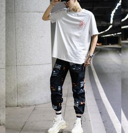 Pantalon talle alto mujer online-PANTALONES SHENGPALAE Mujeres pantalón Joggers Pantalones de talle alto larga floja de pista Palazzo Hip Hop Negro Blanco Streetwear FF974