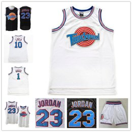 Capretto di basket di jersey online-Youth Space Jam 23 Michael Jersey James Shorts 1 Bugs 10 Lola Bunny Curry Nero Bianco Movie Tune Squad Bambini Maglie da basket