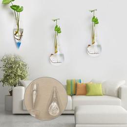Vasi da giardino online-Forma irregolare del vaso del vaso di terracotta del vaso da fiori d'attaccatura di vetro del vaso da fiori di terrari d'attaccatura della parete
