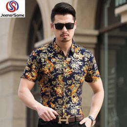 Short Sleeve Print Shirt Men Social Slim Fit Shirt Mens Wear Male Vintage Mens  Clothing Boutique 79e8ad5a2