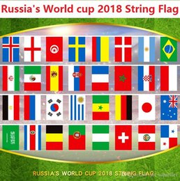 2019 bandiere del paese mondiale 2018 Russia Coppa del mondo di calcio Flags 32 Country Strings Flags 14 * 21cm Banner Bar decoration Indoor outdoor Hanging flag sconti bandiere del paese mondiale