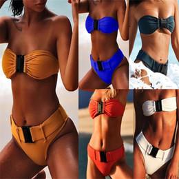 Tapa de tubo de nylon online-Seaside Tube Top Hebilla Bikini traje de baño femenino Sexy Sandy Beach Split Body Swim Wear Color sólido Confort de nylon 27cs C1
