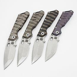 Canada Livraison gratuite Mick Strider personnalisé MSC XL Dragonspine couteau pliant lame S35VN texture feu poignée de titane Outils tactiques de survie EDC Offre