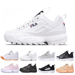 Chaussures pointure 35 sport femme en Ligne-zapatos de fila Nouveau baskets II pour hommes femmes Chaussures de course Rose blanc noir gris hommes chaussures de sport femmes baskets de sport chaussures taille 35-45