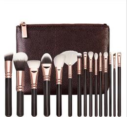 2019 escovas de tez Marca de alta qualidade escova da composição 15PCS / Set com escova Professional PU saco para pó Foundation Blush Eyeshadow