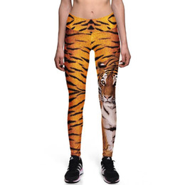 leopard print yoga pants Promo Codes - Spring and Summer New Digital Printing Tiger Print High Waist Slim Fitness Leggings Stretch Pants Exercise Running Yoga Tide Leggings