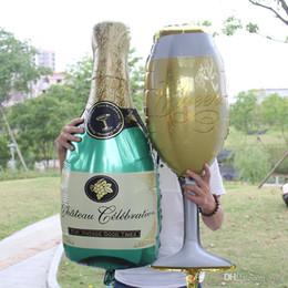 Tasses d'anniversaire en Ligne-Coupe De Champagne Bouteille De Bouteille Ballons Aluminium Feuille Ballon Ballons D'hélium Anniversaire De Mariage Baby Shower Party Decor Fournitures