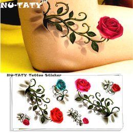 2019 los niños al por mayor de la manga del tatuaje Vintage Rose 3d Tatuaje Temporal Body Art Flash Tattoo Sticker 19 * 9 cm Estilo Impermeable Henna Tatoo Home Decor Sticker