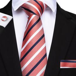 2019 gemelli di cravatta arancione 35 cravatta a righe stile uomo Hanky gemelli cravatte in jacquard tessuto collo per uomo da uomo d'affari blu rosso rosa arancione cravatta maschile sconti gemelli di cravatta arancione