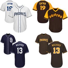 Camisetas de tony gwynn online-Camisetas de béisbol de San Diego Padres 13 Manny Machado 19 Tony Gwynn Blanco Nave Azul Blanco Nuevo Cool Base Player Jersey