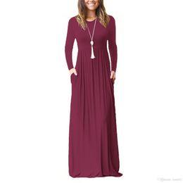 Maxi Vestido Casual Mulheres Moda Vestidos Soltos Sólidos Vestidos de Manga Longa Gola Redonda Longa Sexy Mulheres Elegantes Vestido de