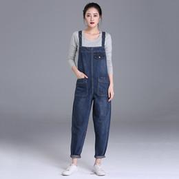 Frauen jeans lätzchen hosen online-Damen Latzhose in Übergrößen Boyfriend Cropped Denim Jeans Overalls mit hoher Taille Playsuits Washed Romper Casual Pants