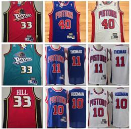 6d00980ebae76 2019 Hommes Pistons de Baketball Detroit 33 Colline 10 Rodman 40 Lambier 11  Thomas Tous les maillots cousus S-XXL