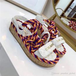2019 sandali neri cunei bianchi New Sandali donna Cord Luxury Designer Sandali Multicolor e avorio Cintura in pelle di sandalo bianco e nero sandali neri cunei bianchi economici