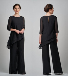 elegant suits for mother bride Promo Codes - Elegant Black Mother Of Bride Suits With Half sleeves Chiffon floor Length Formal Evening Party Wedding guest Dresses For Women