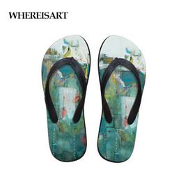 gemalte schuhe entwürfe Rabatt WHEREISART Comfort männer Flip-Flops Strandschuhe Außerhalb Sandalen Flops Sandalen Mann Landschaftsmalerei Sommer Einfache Design Flop
