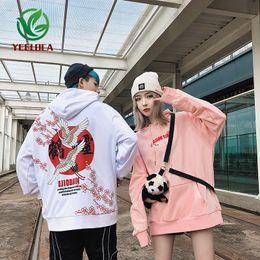 sweatshirt chinesisch Rabatt 2019 Dropshipping Neue Chinesische Art Retro Liebhaber Kleid Kran Druck Hoodie Männer und Frauen High Street Hip Hop Lose Sweatshirt