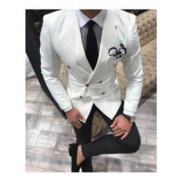 2019 ternos azuis breasted dobro para wedding Mais novo noivo branco smoking pico lapela Double Breasted casamento homens ternos melhor homem Blazer (Jacket + Pants + Tie) ternos azuis breasted dobro para wedding barato