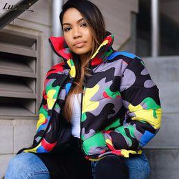 2019 grüner parka rosa pelz Zu Camouflage Print Winterjacke Frauen 4XL Plus Size Blase Mantel in über Wattierte Jacke für Winter Fashion Parka