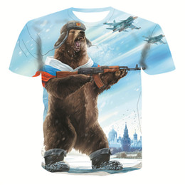 Canada 2019 T-shirt pour les hommes de la mode d'été impression 3d ours à manches courtes T-shirt pour hommes Vêtements pour hommes Casual Slim Fit Hip-Hop Top T-shirts cheap orange bear clothing Offre