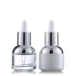 envases de botellas de vidrio blanco Rebajas Botellas cuentagotas de vidrio transparente blanco de 30 ml Botellas de perfume de aceites esenciales vacíos Botellas de cosméticos para mujeres