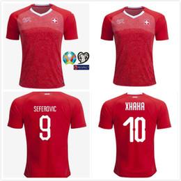 adc0961fd 1 2019 European Cup Switzerland Soccer Jersey 10 XHAKA 9 SEFEROVIC 8  FREULER 23 SHAQIRI 6 LANG 7 EMBOLO 11 BEHRAMI Swiss Red Football Shirt  discount ...