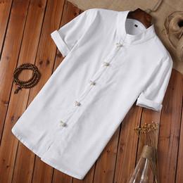 chemisiers en lin grande taille Promotion Chemise D'été Hommes Plus La Taille Bouton Lin Et Coton Coton À Manches Courtes Blouse Style Chinois Blanc Hommes Vintage Chemise Camisa Masculina