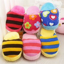 toys colouring Coupons - Plush Toys Love Floret Brilliant Colour Stripe Slipper Voice Pets Plaything Amolar Tooth Dog Toy Factory Direct Selling 2 9gg p1