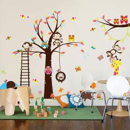 Сосновые фрески совы онлайн-Дети стены термоаппликации детская спальня декор плакат росписи лесных животных жираф обезьяна Сова дерево ПВХ стены стикеры для детская комната