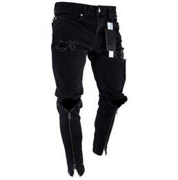 2019 denim scuro denim uomini Jeans da uomo con cerniera, jeans aderenti strappati slim fit neri
