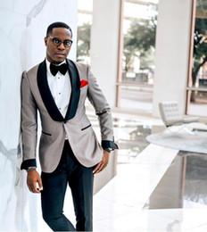 Sıcak Satmak Düğün Smokin Erkek Blazer Örgün Özel Made Siyah Şal Yaka Bir Düğme Suits Erkek Düğün Takımları (Blazer + Pantolon) cheap black suits one button nereden siyah takım elbise bir düğme tedarikçiler