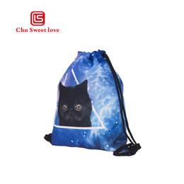 Sacchetti stampati di cotone per ragazza online-Sacchetto di cordoncino portatile di moda Ragazze stampa 3D Cartone animato gatto zaino con coulisse Borsa da viaggio in cotone pieghevole riutilizzabile