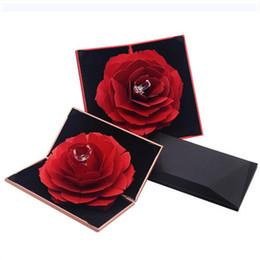 Argentina Caja de anillo de rosa roja, hecho a mano Girar rosa Caja de regalo originalidad de la boda, Caja de compromiso de San Valentín de moda Caja de embalaje de joyería 0384 Suministro