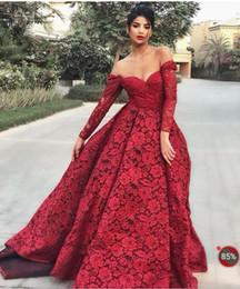 Canada Robe de soirée robe longue manches longues dentelle chérie rouge une ligne moderne classique adapté à toutes les tailles belle 581 Offre